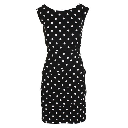 - Connected Black White Sleeveless Polka Dots Tiered-Front Sheath Dress 16