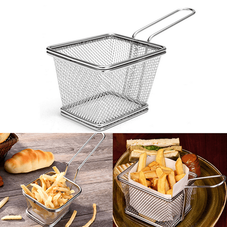 Meigar Frying Basket Stainless Steel Mini French Deep Fryers Basket Net Mesh Fries Chip Kitchen Tool