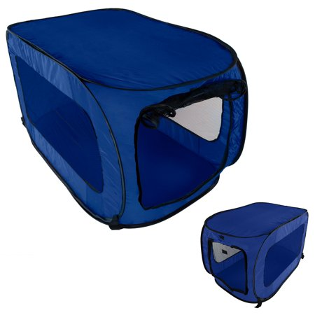 Pet Kennel Crate Pop Open Soft Collapsible Indoor/Outdoor Portable Foldable Travel, Blue