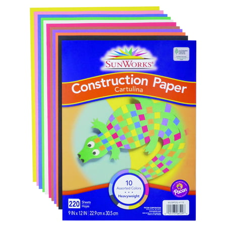 "SunWorks Heavyweight Construction Paper, 10 Assorted Colors, 9"" x 12"", 220 Sheets"