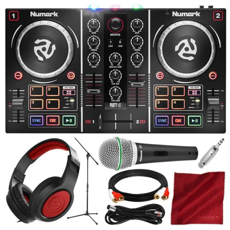 Numark Party Mix DJ Controller with Built-In Light Show and Microphone + Headphones Deluxe