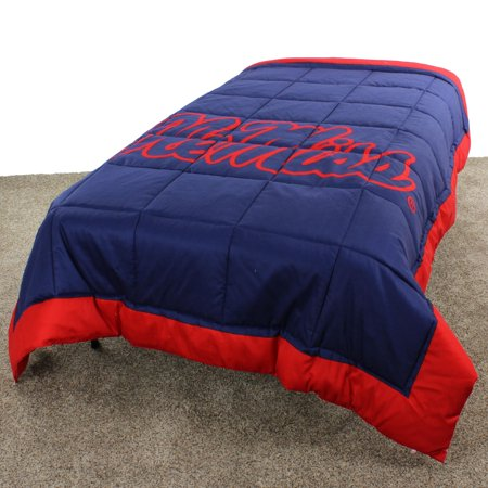 Ole Miss Rebels 2 Sided Reversible Comforter, 100% Cotton Sateen, 80