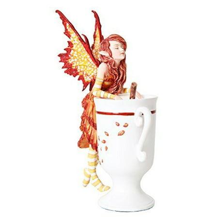 Fairies Stick (6.25 Inch Cider Fairy with Mug and Cinnamon Stick Statue Figurine)