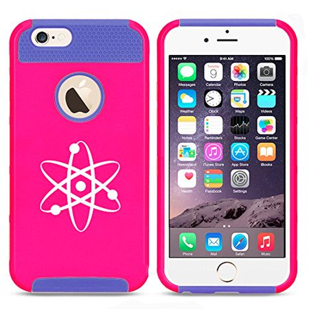 For Apple iPhone 7 Shockproof Impact Hard Soft Case Cover Atom Science Atheist (Hot Pink-Blue)