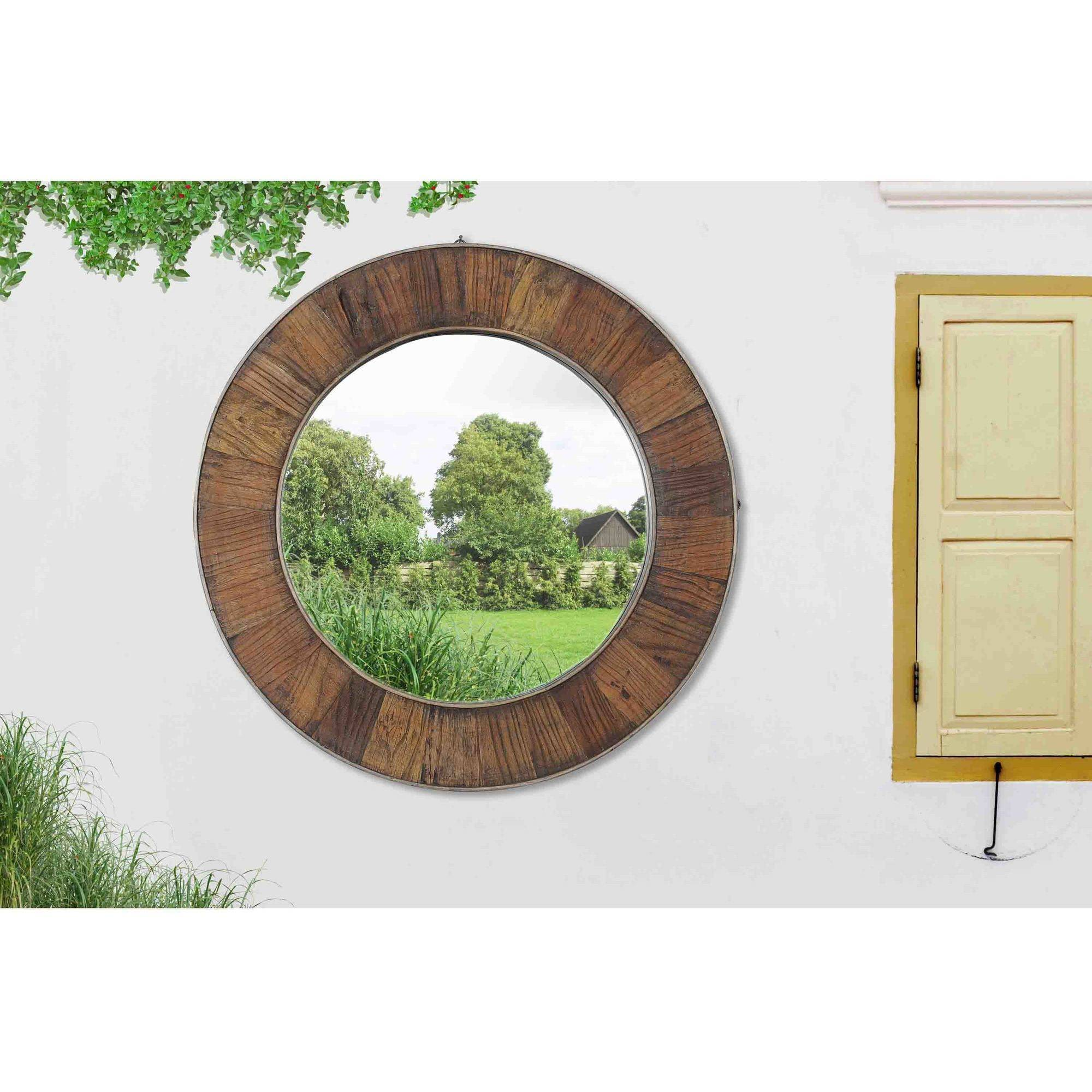 "Sunjoy 130201005 27"" Recycled Fir Wood Wide Border Round Mirror by SunNest Services LLC"