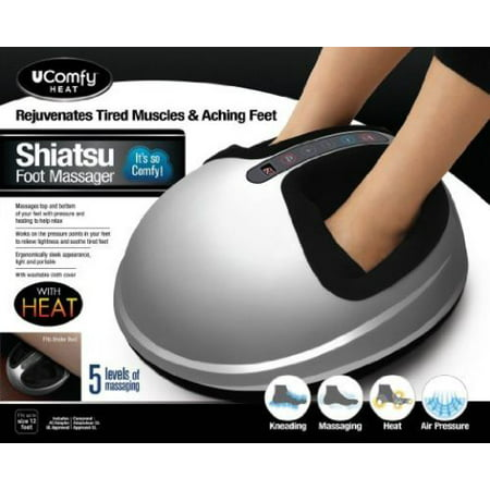 Ucomfy Shiatsu 2 0 Foot Massager With Heat And Air Compression   Silver  As Seen On Tv