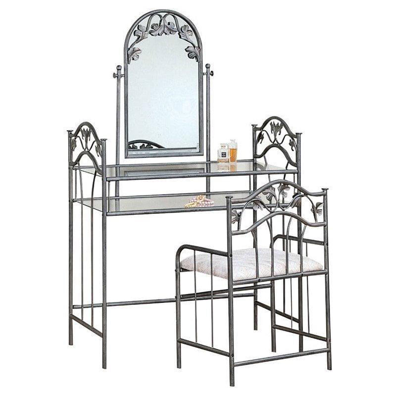 Coaster Flower Pattern Vanity Table Set with Mirror in Nickel-Bronze Finish