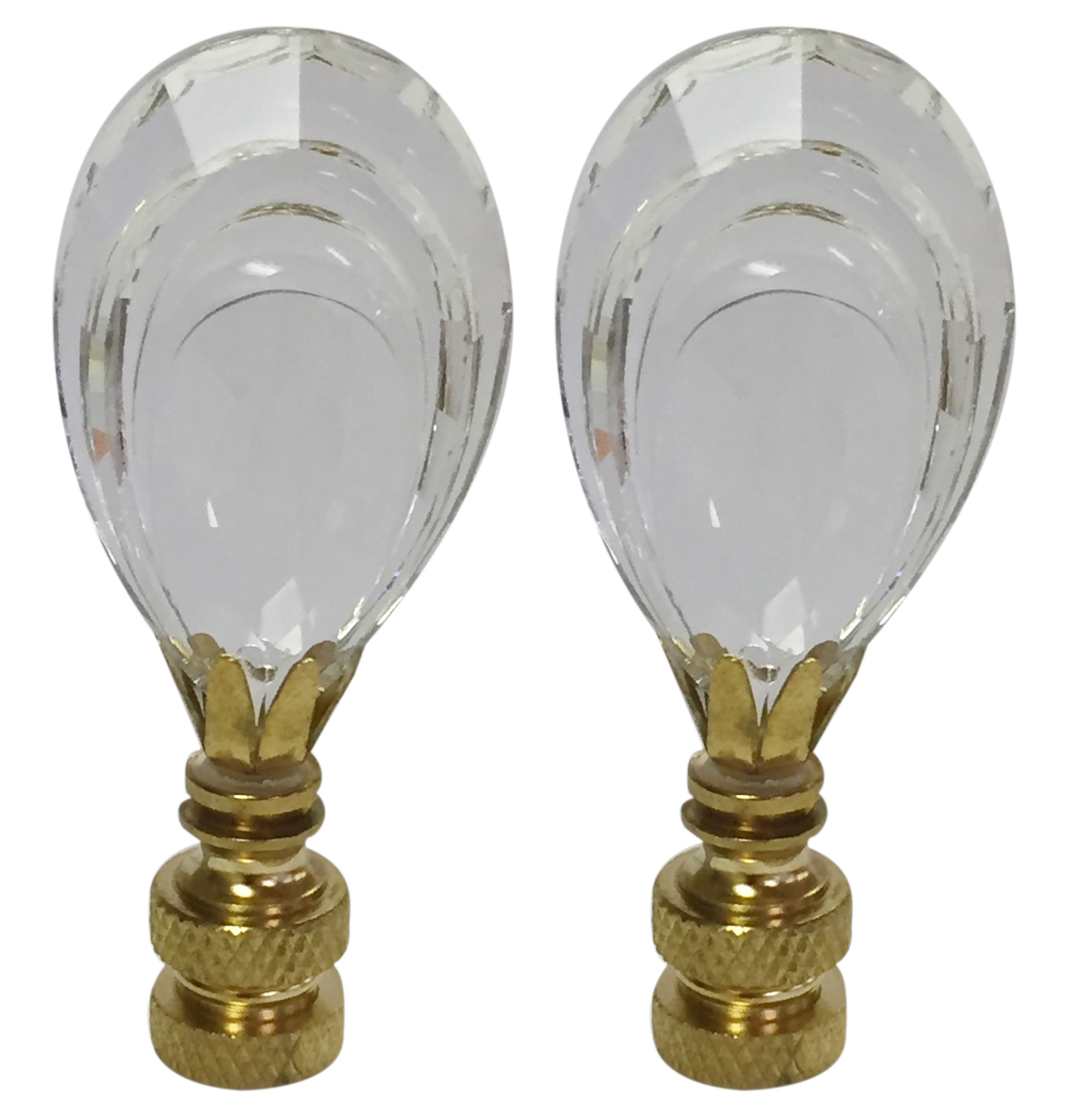 Royal Designs Flat Teardrop Shaped K9 Clear Crystal Lamp Finial for Lamp Shade with Polished Brass Base Set of 2