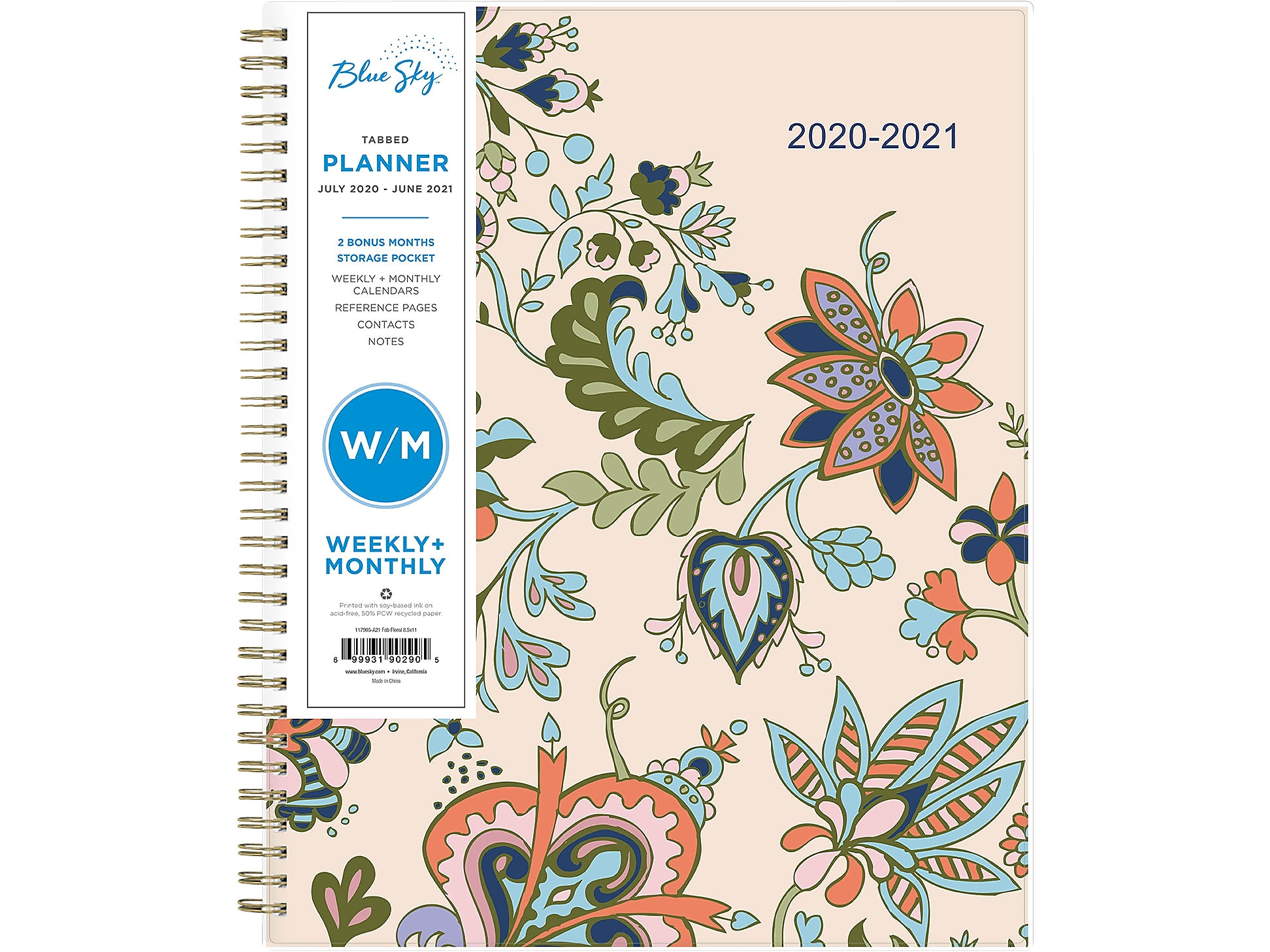 Fab Floral Blue Sky 2020-2021 Academic Year Weekly /& Monthly Planner Flexible Cover 8.5 x 11 Twin-Wire Binding