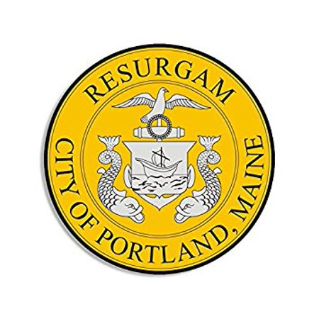 ROUND Portland MAINE City Seal Sticker Decal (me lobster) Size: 4 x 4 inch