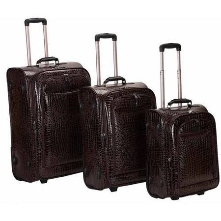 Rockland Vinyl Crocodile Style Luggage Set