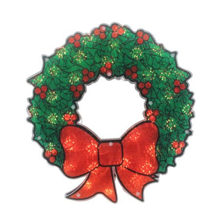 Christmas Wreath Silhouette.15 Lighted Holographic Christmas Wreath Window Silhouette