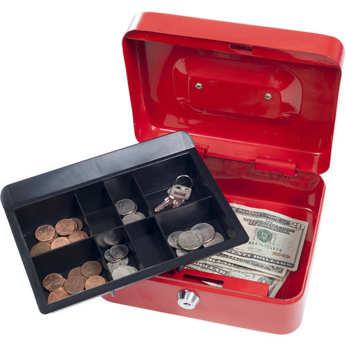 """Stalwart 8"""" Locking Cash Box with Coin Tray"""