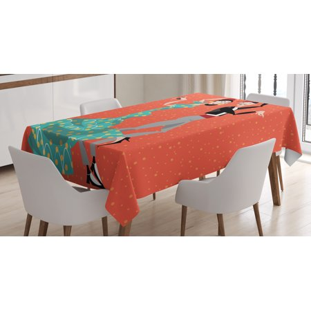 Spanish Tablecloth, Ethnic Flamenco Dancers Couple Performing in Historical Folk Dress Latino Tradition, Rectangular Table Cover for Dining Room Kitchen, 52 X 70 Inches, Multicolor, by Ambesonne