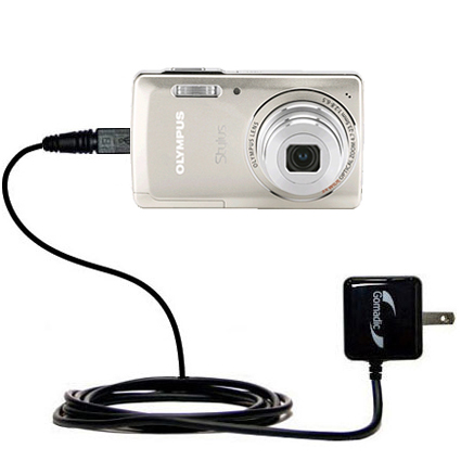 Gomadic Intelligent Compact AC Home Wall Charger suitable for the Olympus Stylus-5010 Digital Camera - High output power with a convenient, foldable p