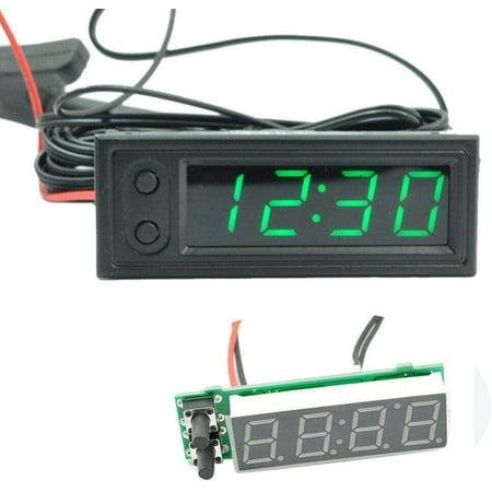 Car Temperature Clock Car Clock 12V 3 in 1 Thermometers Voltmeter Gauge Electronic Clock LED Digital Display LCD Screen Thermometer Voltmeter LED Auto Gauges Electronic Clock