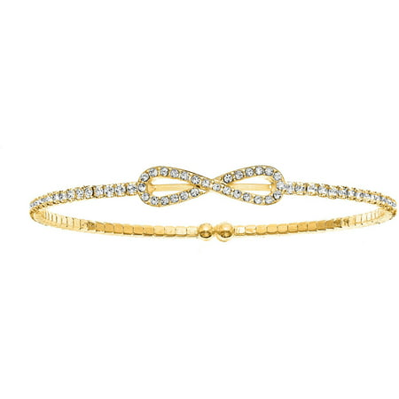 Austrian Crystal Bangle (Handset Austrian Crystal 14kt Gold-Plated Infinity Flex Bangle )