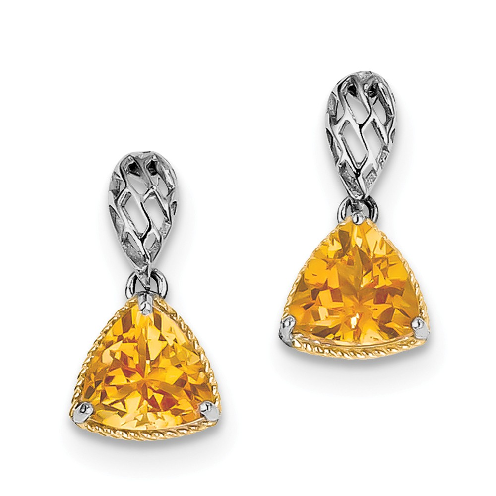 Sterling Silver w/ Gold-Plate Accent Citrine Trillion Earrings. Gem Wt- 2.9ct (0.7IN x 0.3IN )