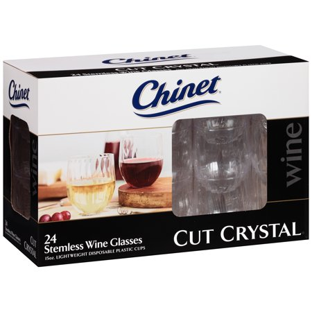 Chinet® Cut Crystal® 15 oz. Stemless Wine Glasses 24 ct - Stemless Wine Glasses Plastic