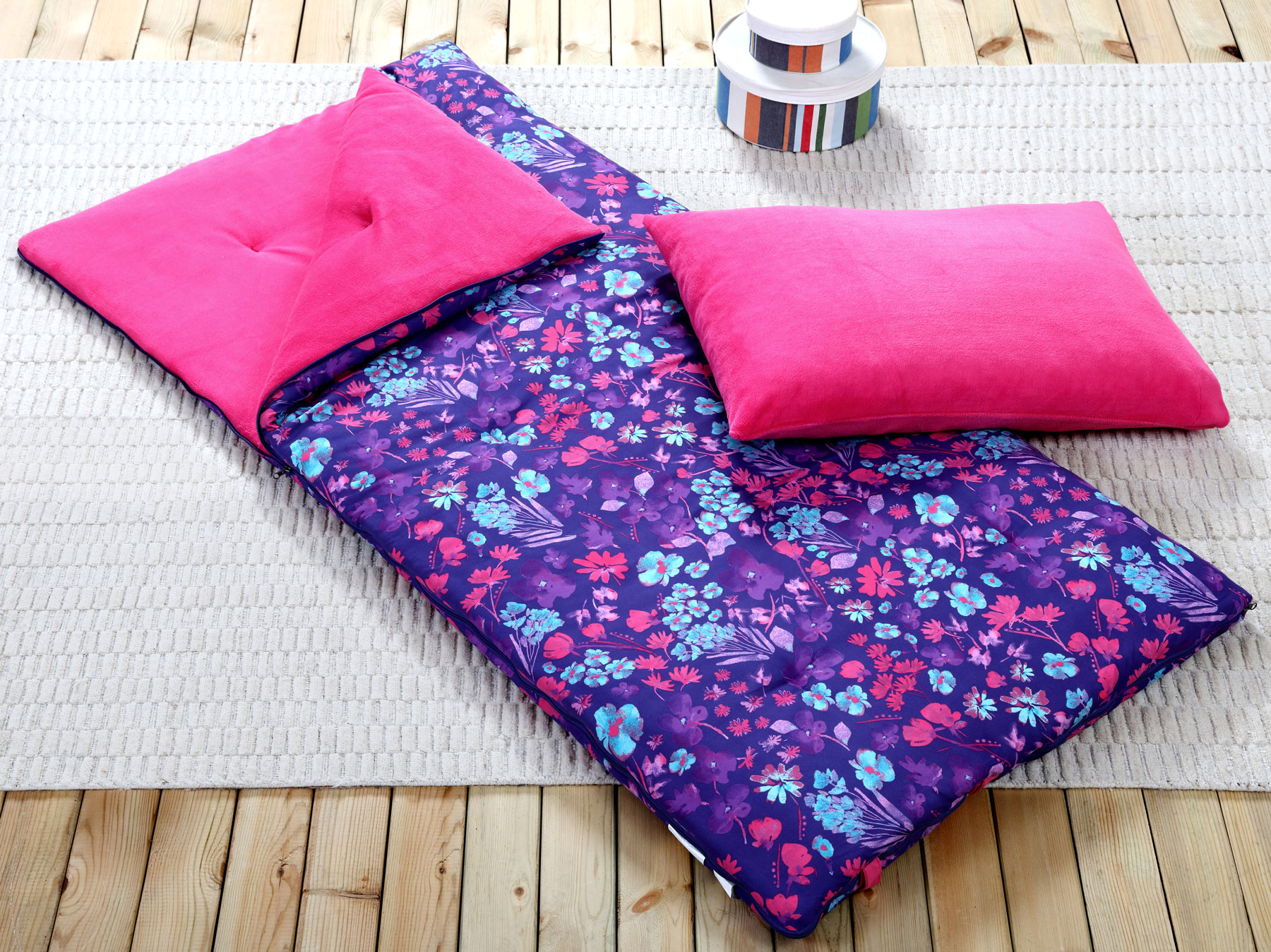 Sleeping Bag and Pillow Cover, Purple Pink Teal Floral Indoor Outdoor Camping Youth Girls by