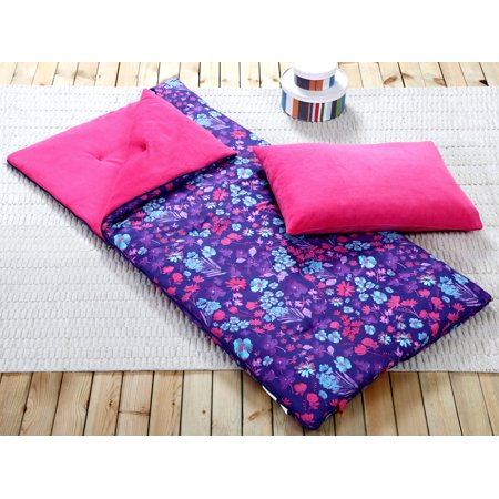 Sleeping Bag Girl (Sleeping Bag and Pillow Cover, Purple Pink Teal Floral Indoor Outdoor Camping Youth)