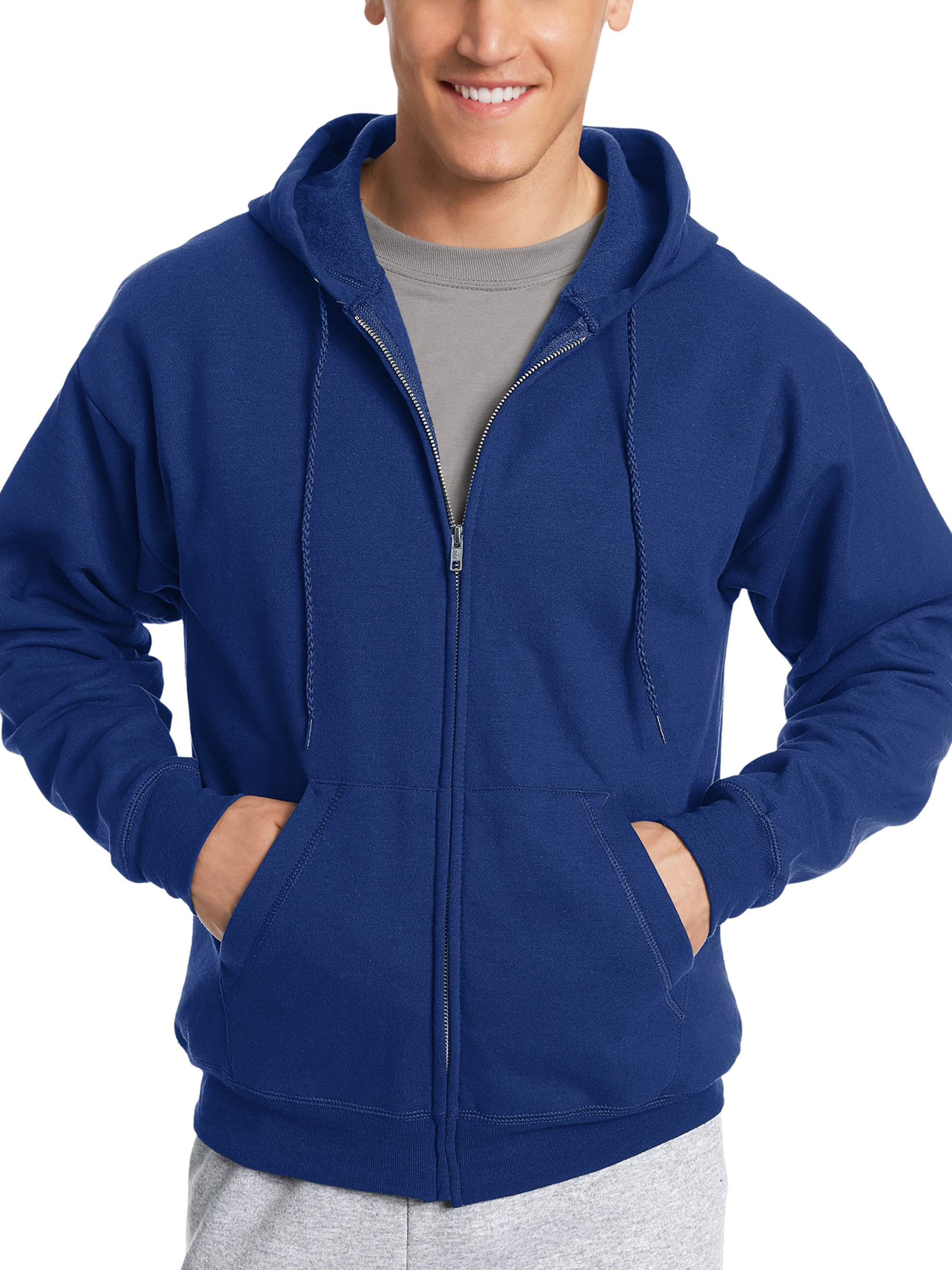e8e585c3b843 Hanes - Hanes Men s Ecosmart Fleece Zip Pullover Hoodie with Front ...