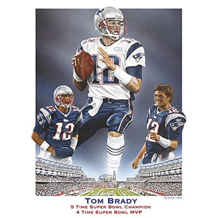 Canvas Tom Brady 5 Time Super Bowl Champion  4 Time Super Bowl Mvp By Darryl Vlasak 16X12 Painting Print On Wrapped Canvas Memorabilia Football Nfl Legend Quarterback Goat