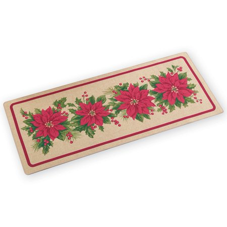 Christmas Runner Rugs.Poinsettia Christmas Burlap Floor Runner Rug
