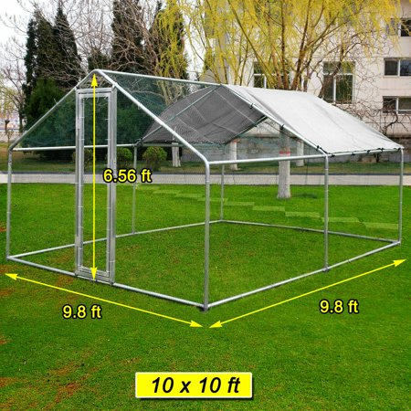 10x10ft Walk in Large Metal Chicken Coop  Run Backyard Hen House Poultry Rabbit Cage &