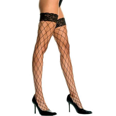 Plus Size Lycra Fence Net Thigh Hi with Lace Top (Fence Net Lace Top)