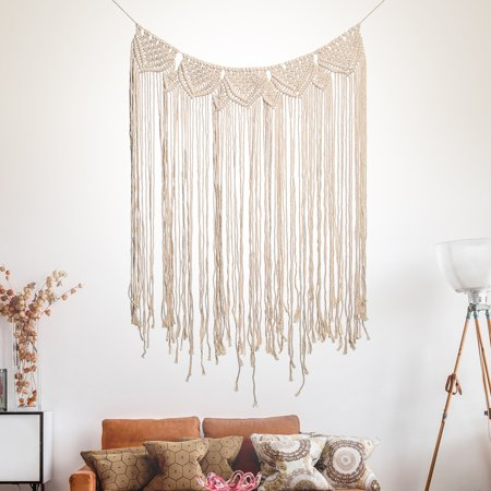 45''x32'' Handmade Bohemian Macrame Woven Wall Hanging  Knitted Tapestry Tassel Curtain Living Room Home Decor Wedding Backdrop Craft - image 6 of 7