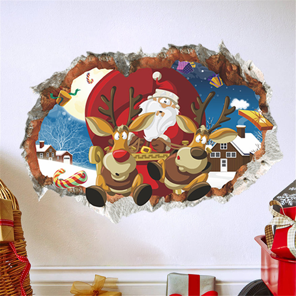 3D Broken Hole Merry Christmas Household Room Wall Sticker Decor Decal Removable