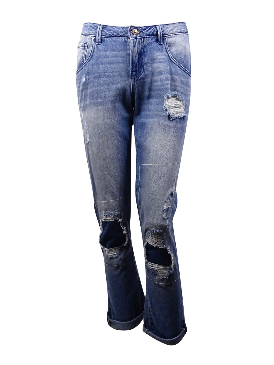 Suede Juniors' Charlie Ripped Patched Boyfriend Jeans (New Formula Wash, 26)