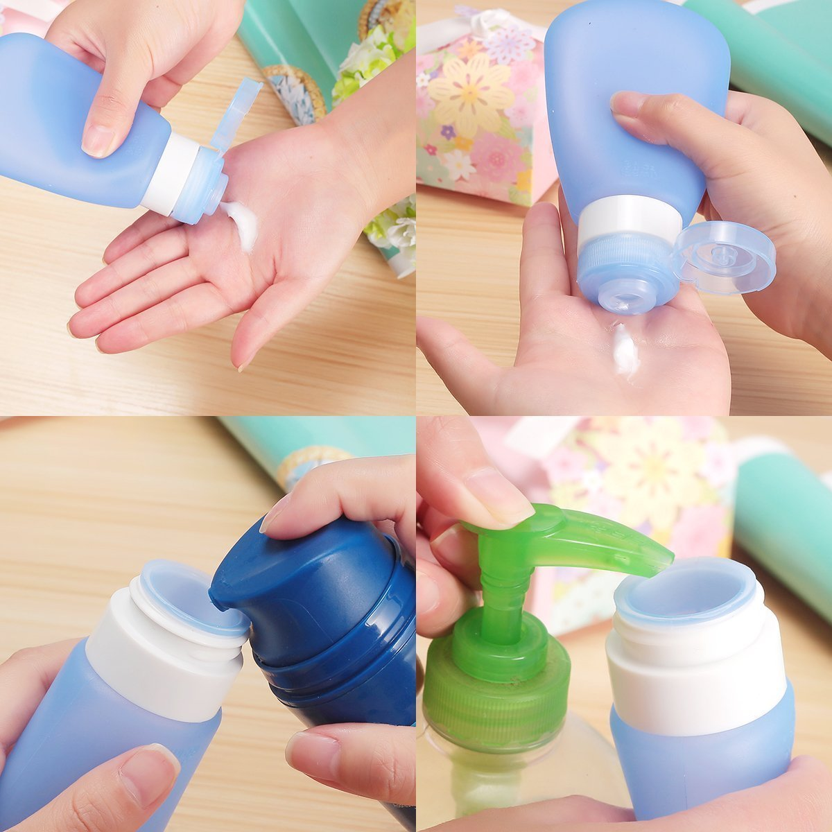 739861b03faa TMISHION Portable Soft Silicone Travel bottles Set,Squeezable and  Refillable Bottle Container for Shampoo, Lotion, Toiletries, Airline  Carry-On(3 OZ, ...