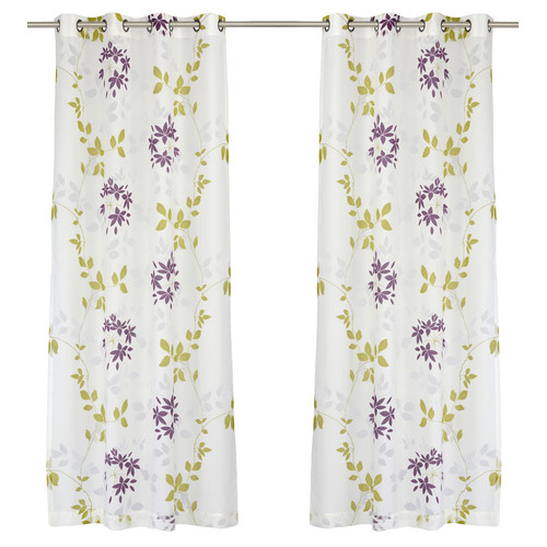 LJ Home Dreamscape Semi Sheer Floral Burnout Grommet Curtain Panel (Set of 2)