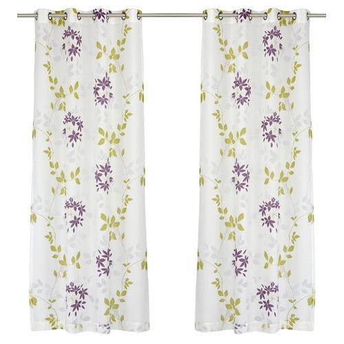 LJ Home Dreamscape Semi Sheer Floral Burnout Grommet Curtain Panel (Set of 2)