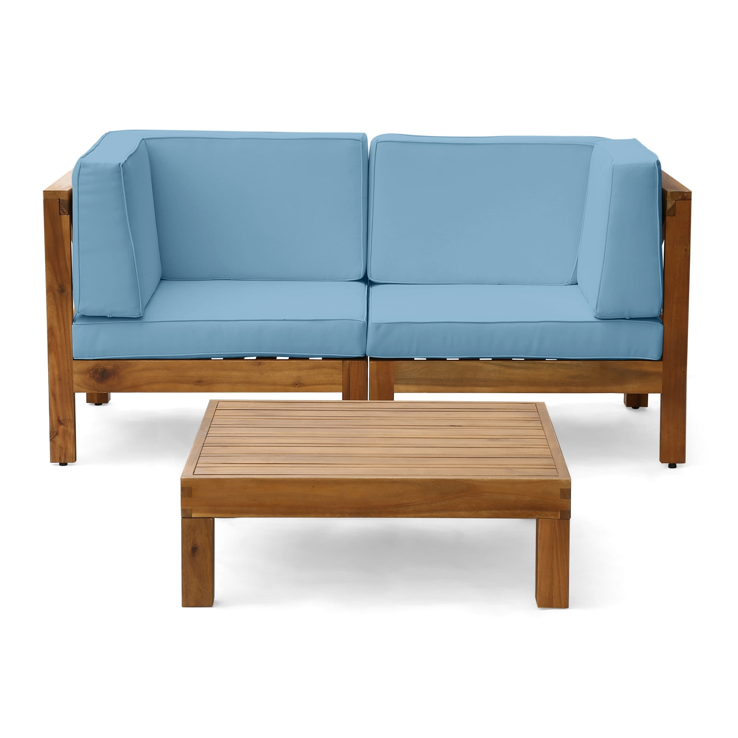 Christopher Knight Home Oana Outdoor 2-Seater Acacia Wood Sectional Loveseat Set by