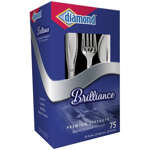 Diamond Brilliance Flatware Set, 75-Count, Blue