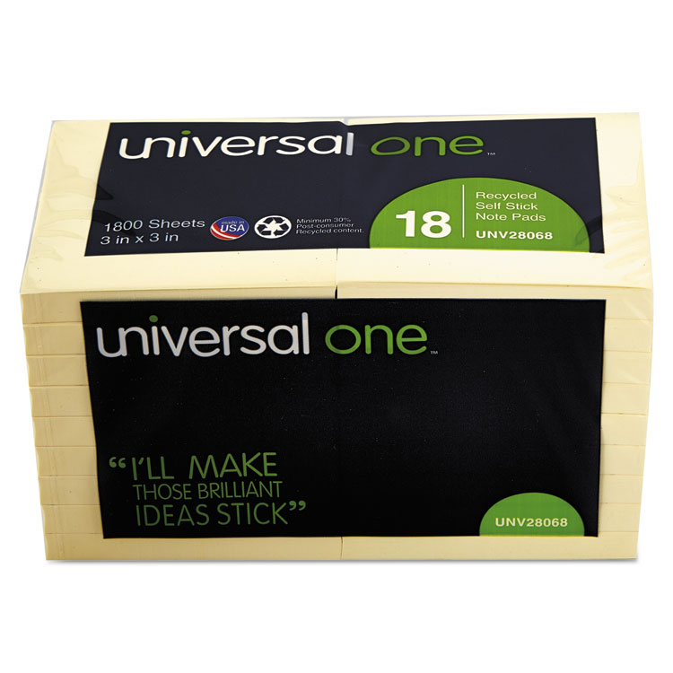 Universal Recycled Sticky Notes, 3 X 3, Yellow; 18 100-Sheet Pads/Pack