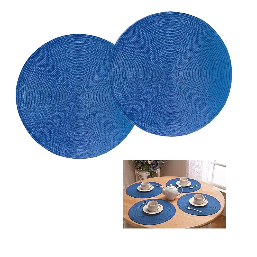 2 Pc Round Woven Placemat Kitchen Home Decor Table Protection Spiral Mat New !