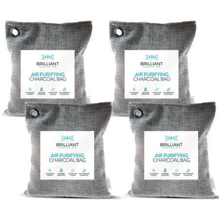 Brilliant Evolution Bamboo Charcoal Air Purify Bags 220g 4 Pack | Car Air Freshener | Closet Deodorizer | Air Purifier | Activated Charcoal Odor Absorber | Odor Eliminator | Room Deodorizer