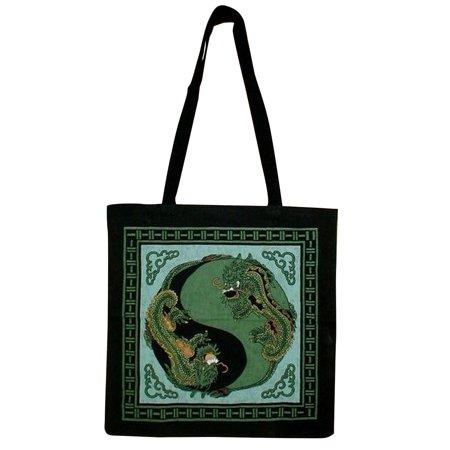 Yin Yang DragonTote Bag School Shopping 16 x 17 Green