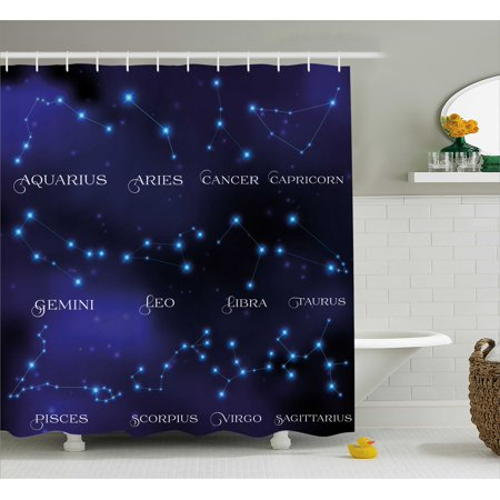 Constellation Shower Curtain  Dark Night Sky Star Groups Of Zodiacal Circle Styled Letters  Fabric Bathroom Set With Hooks  69W X 84L Inches Extra Long  Dark Blue Light Blue Purple  By Ambesonne
