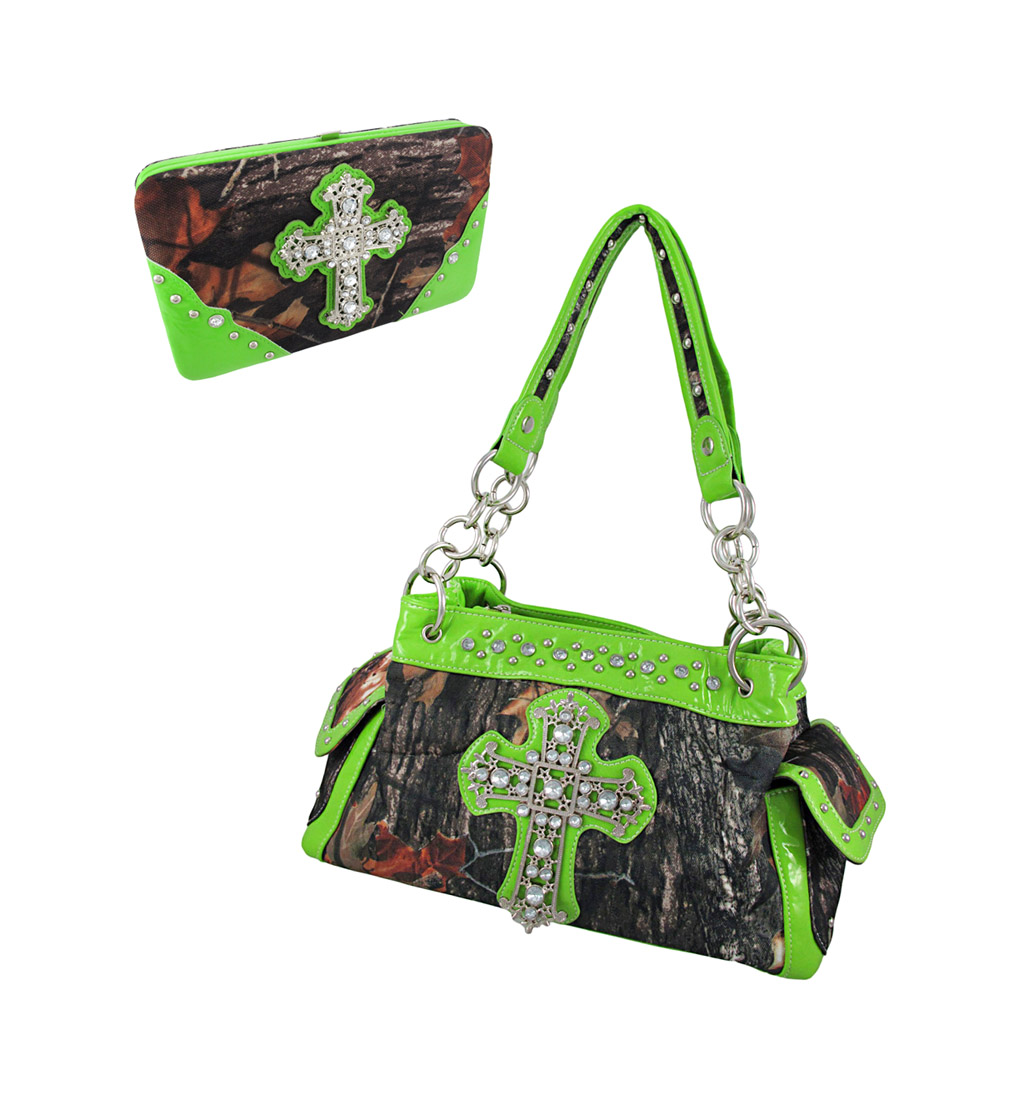 Deep Forest Camouflage Rhinestone Cross Purse / Wallet Set Lime Green Trim