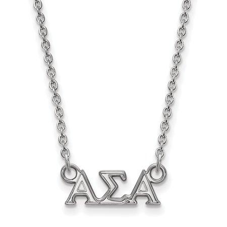 Sterling Silver LogoArt Alpha Sigma Alpha XS Pend w/Necklace - image 1 de 1