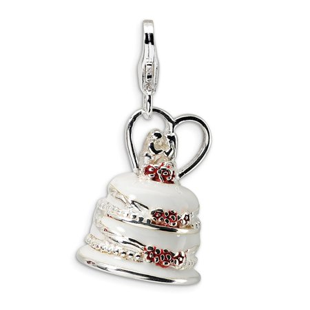 Amore La Vita Sterling Silver 3-D Enameled Wedding Cake Click-On Lobster Clasp Charm Pendant