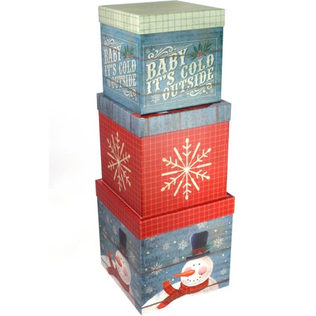 Set Of 3 Large Christmas Gift Boxes Snowman Design Walmart Com