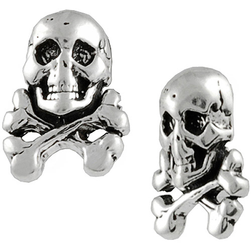 Brinley Co. Skull and Crossbones Sterling Silver Stud Earrings