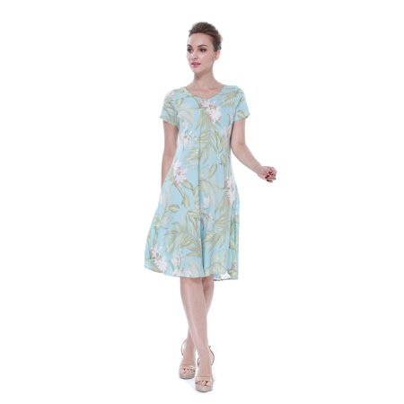 Women's Hawaiin Crinkle A Line Flowy Luau Short Sleeve Dress in Frech Floral Blue