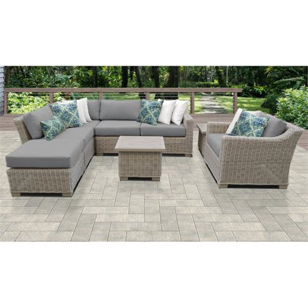 Outdoor Wicker Patio Furniture Set, Grey Wicker Patio Furniture Set
